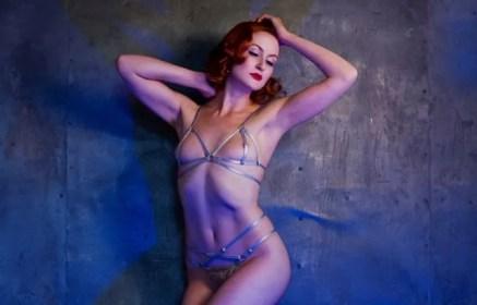 Model wearing Aquiesce bralette and panties