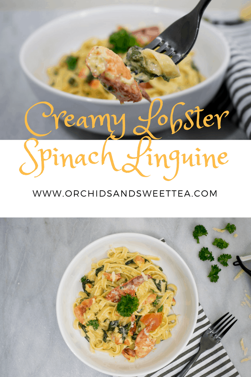 Creamy Lobster Spinach Linguine