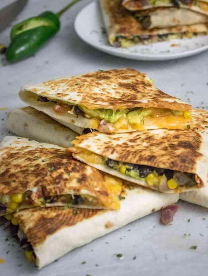 Loaded Avocado + Veggie Quesadillas
