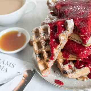 Raspberry Pecan Vegan Waffles