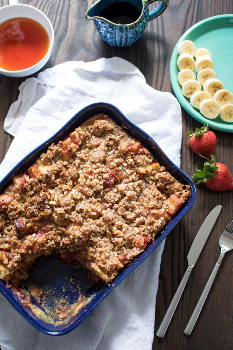 Baked Strawberry Banana French Toast Casserole
