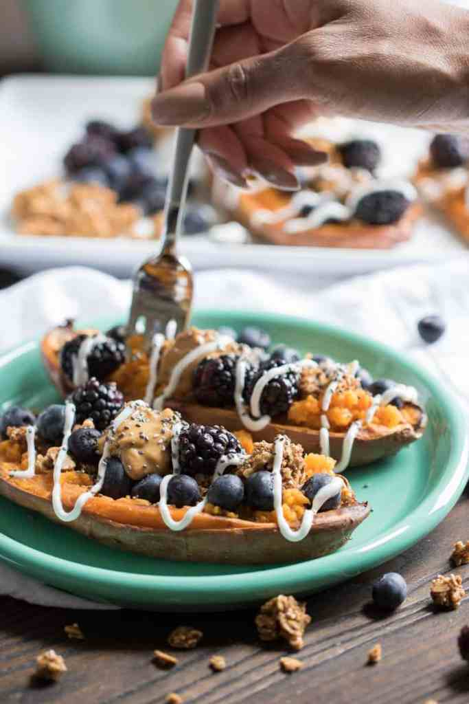 Sweet Potato Berry Breakfast Boats