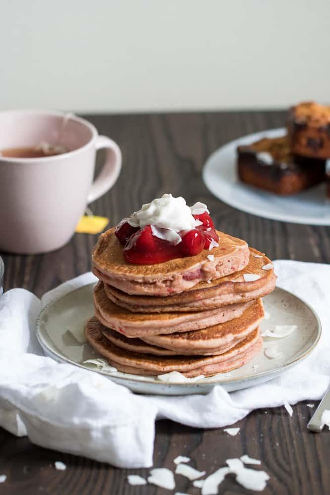 Perfect Whole Wheat Strawberry Pancakes