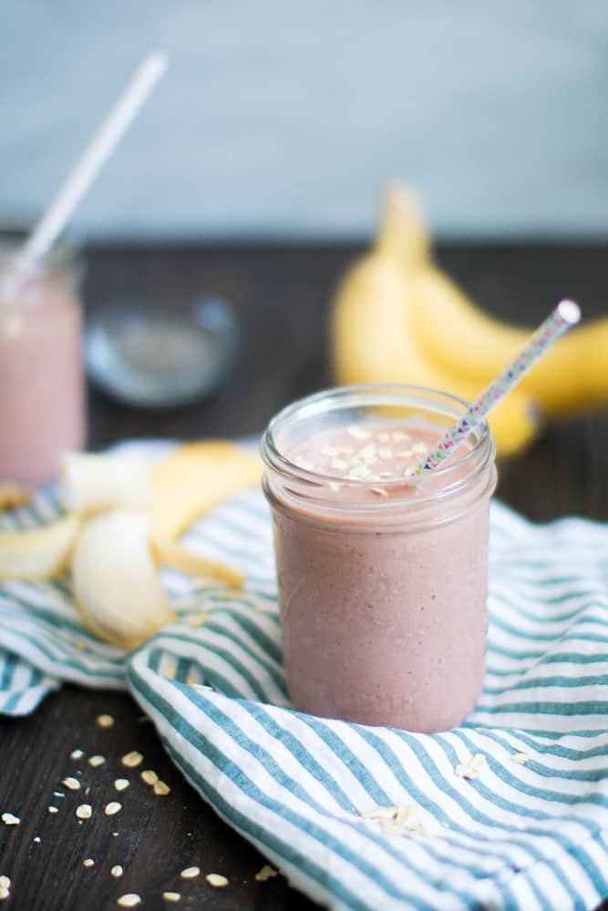 Banana Mango Raspberry 'Sunrise' Oats Smoothie