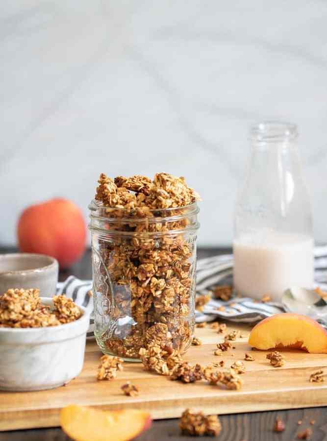 Caramelized Peach Cinnamon Breakfast Granola