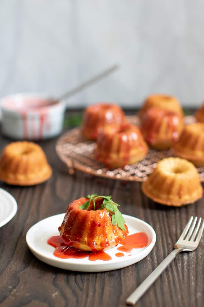 Peach Mini Bundt Cakes with Strawberry Drizzle