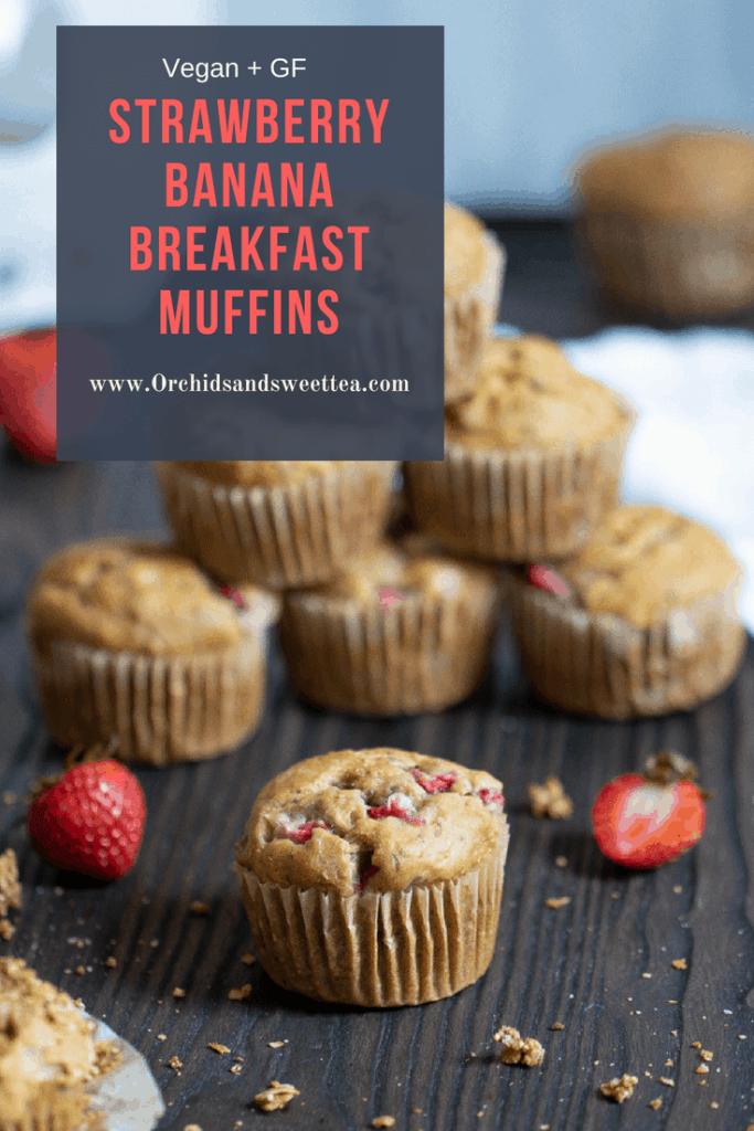 Vegan + Gluten-Free Strawberry Banana Breakfast Muffins