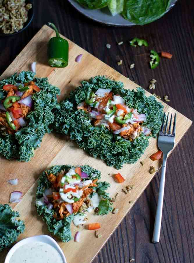 Spicy Buffalo Chicken Salad Kale Wraps