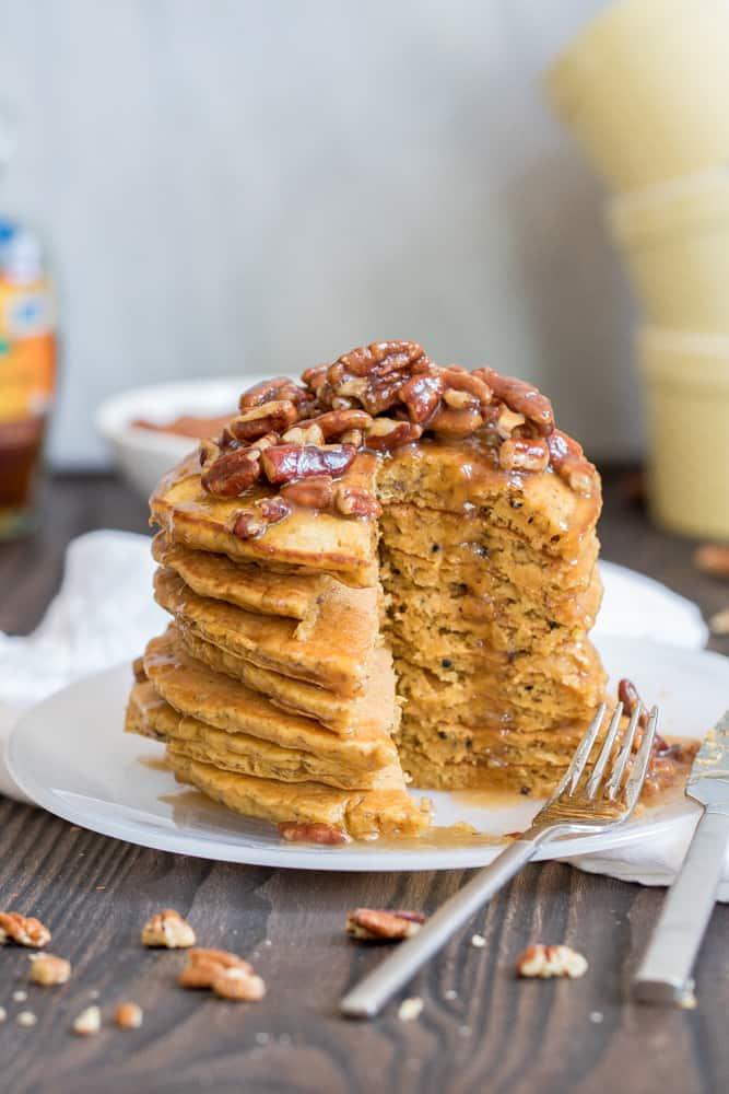 Healthy Pumpkin Quinoa Pancakes + Praline Syrup
