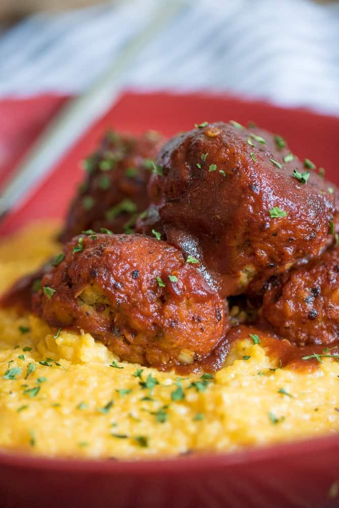 Vegan Chickpea + Quinoa 'Meatballs' + Polenta