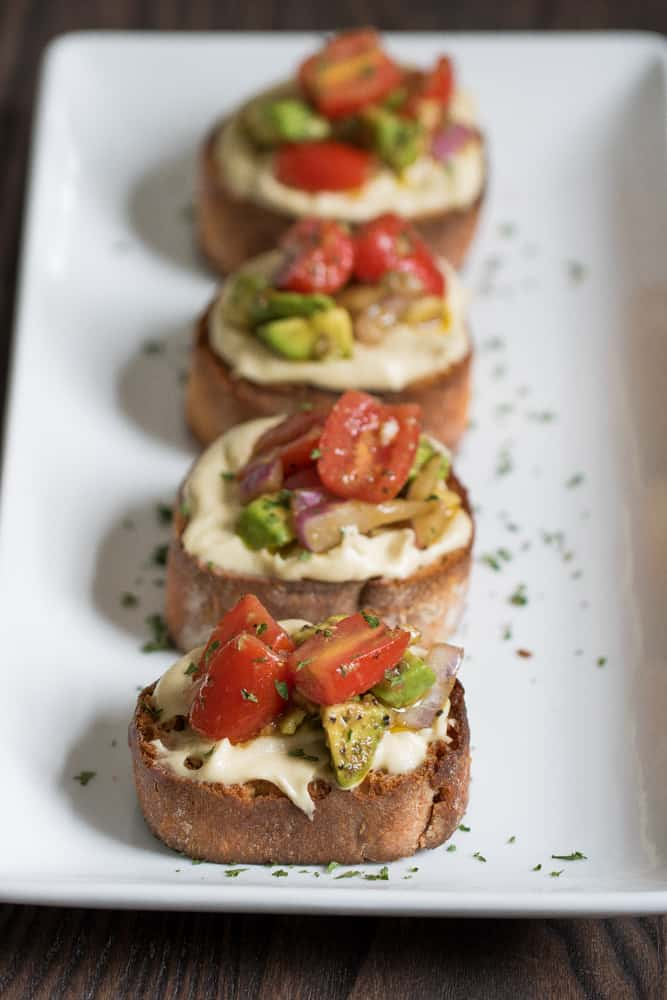 Vegan Tomato Avocado 'Cream Cheese' Bruschetta