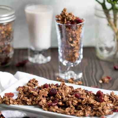 Healthy Chocolate Hazelnut Granola w/ Cranberries