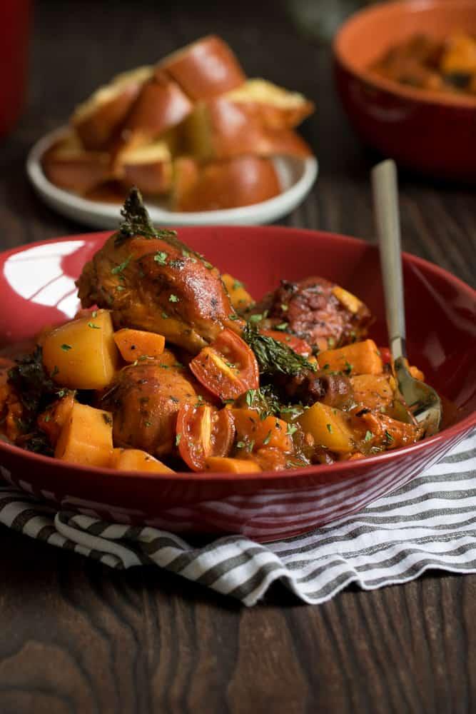 Oven Baked Braised BBQ Chicken + Veggies