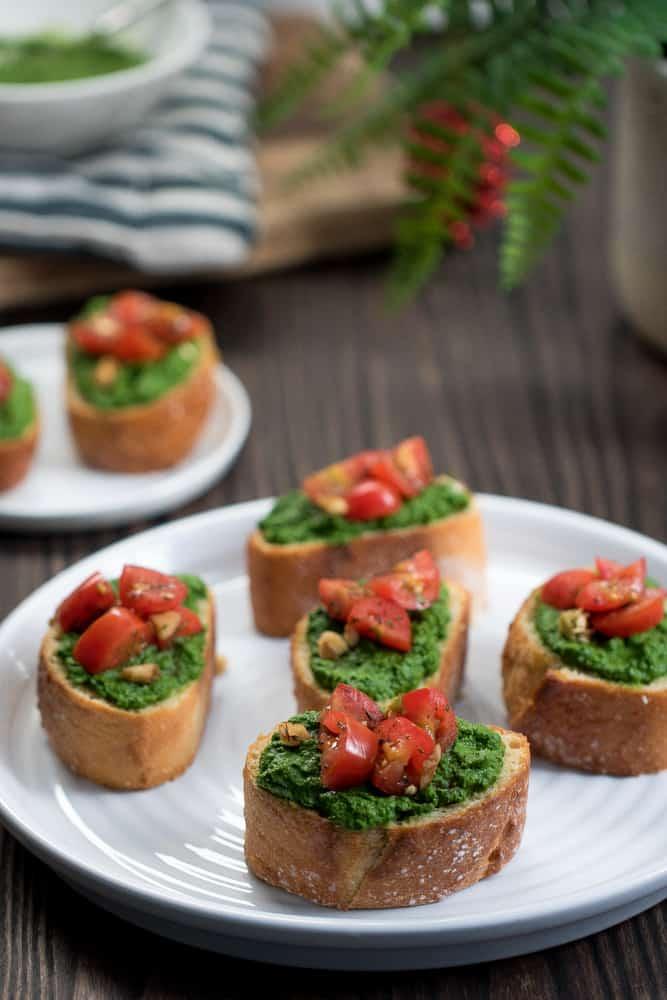 Kale Spinach Pesto + Tomato Bruschetta