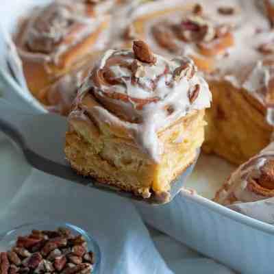 Vegan Sweet Potato Cinnamon Rolls + Maple Pecan Glaze