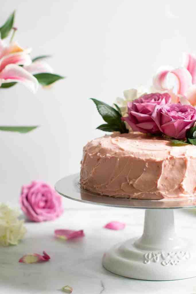 Lemon + Strawberry Layer Spring Cake