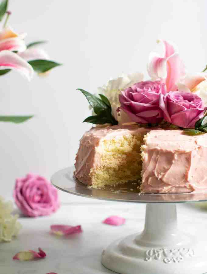 Lemon + Strawberry Layer Spring Cake
