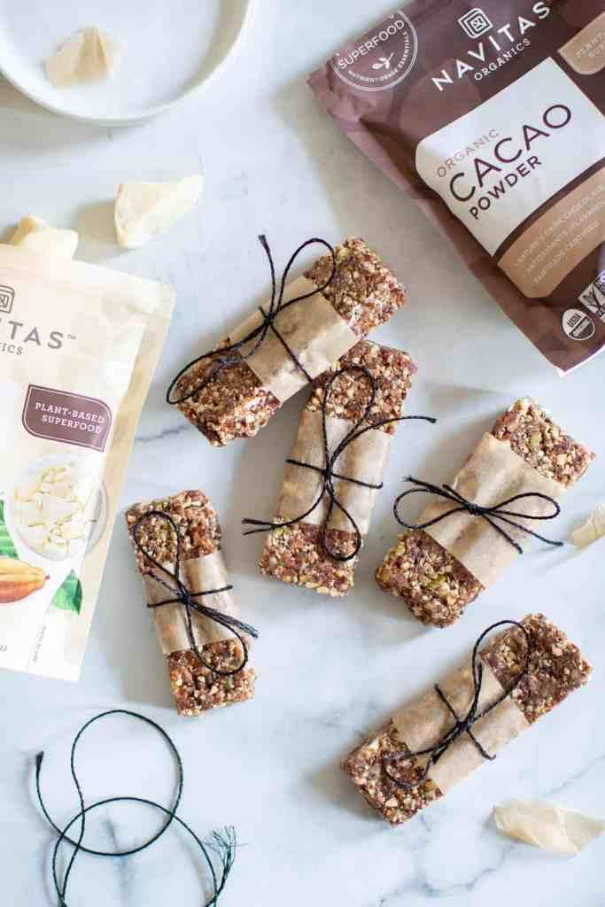 No-Bake Cacao Date Loaded Energy Bars