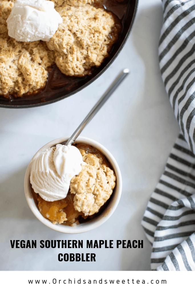 Vegan Southern Maple Peach Cobbler