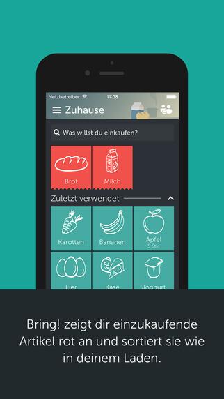 Screenshot der Gastronomie App Bring