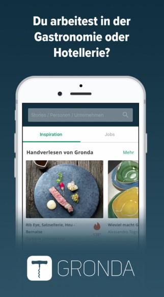 Screenshot der App von Gronda