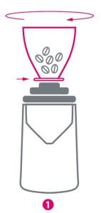 Grafische Darstellung für ersten Schritt der Reinigung einer Kaffeemühle