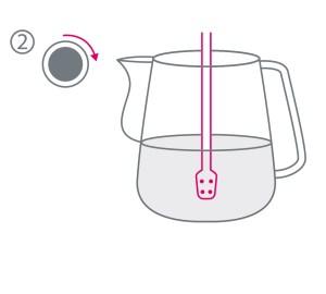 Grafische Darstellung, für die Positionierung der Dampfdüse für Milchschaum