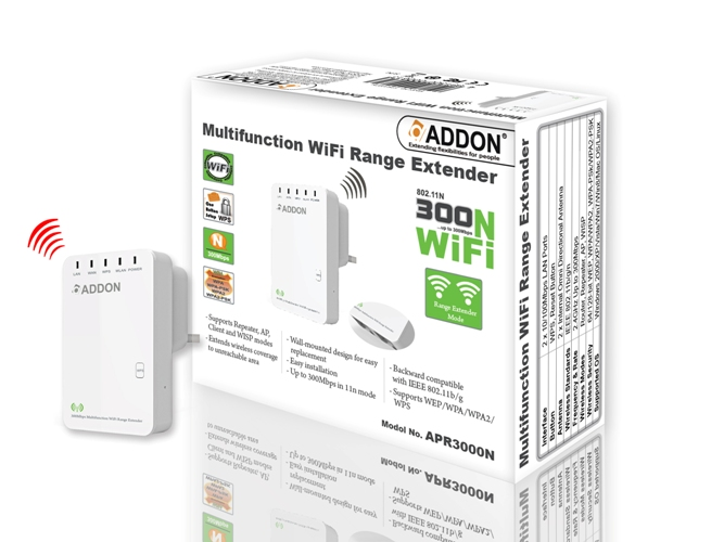 Addon APR3000N 300Mbps Multifunction WiFi Range Extender