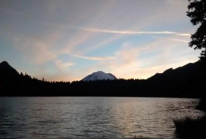 Mt Rainier seen at sunset from Dewey Lake
