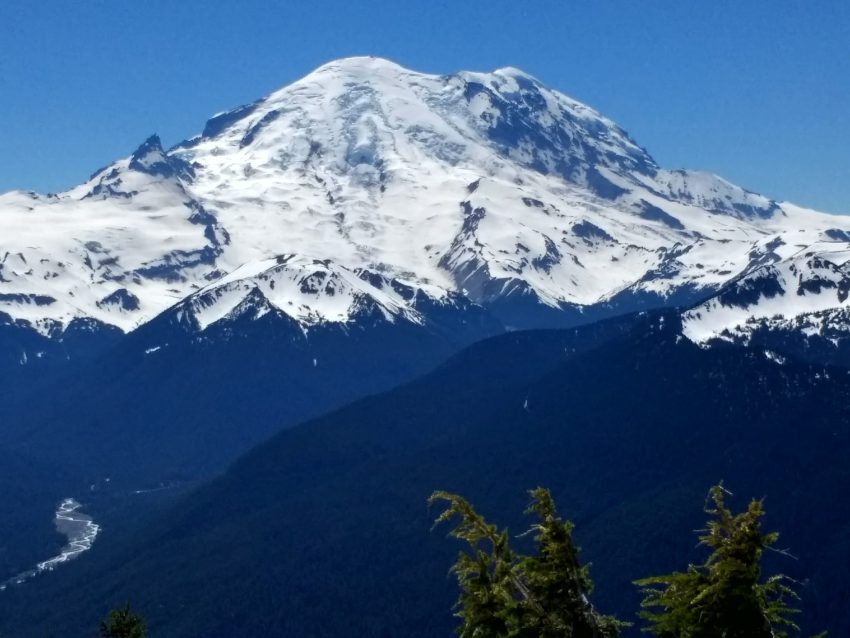 Mt Rainier in Mt Rainier National Park on a clear summer day