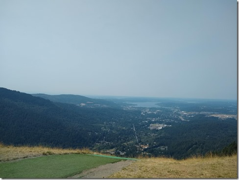 hazy view of issaquah, lake sammamish and bellevue from poo poo point