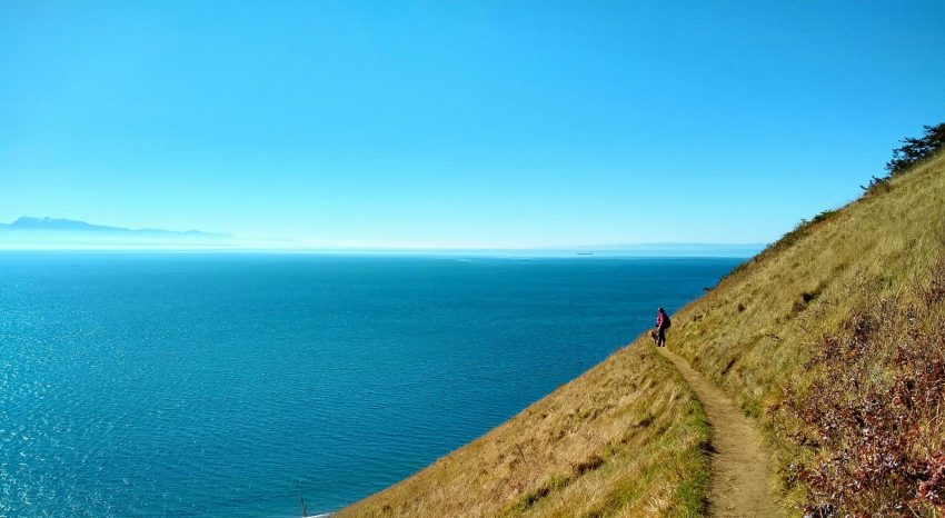 a hiker on a trail along a bluff next to an expanse of blue water