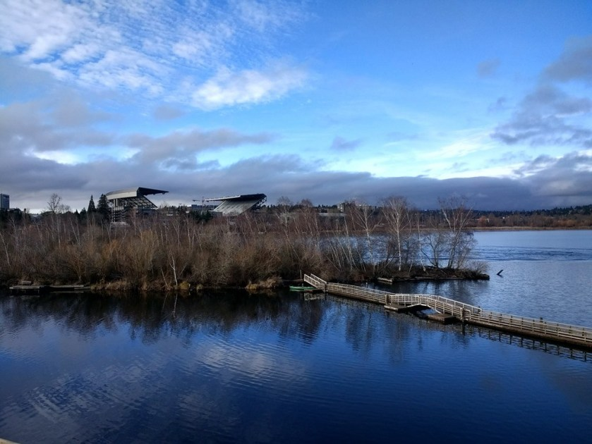 Bare winter trees on a small island in a lake with a path on a bridge going to it. A stadium is visible behind the trees. There is blue sky and clouds