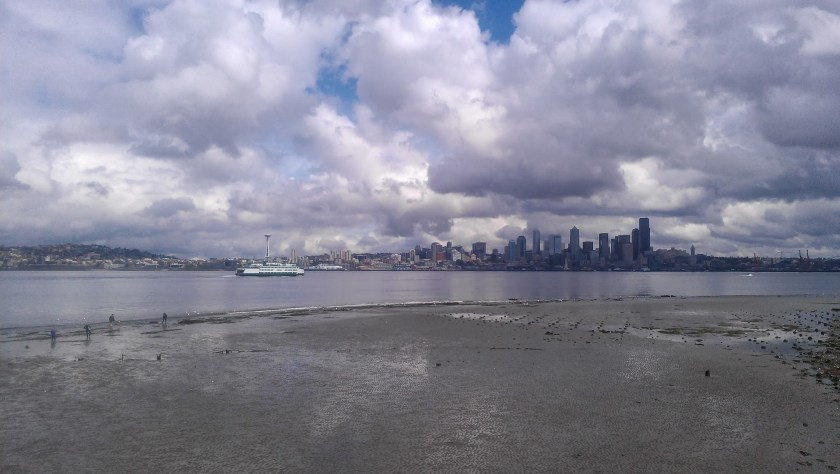 A wide tideflat at low tide. There is a bay behind with a ferry arriving in Seattle. The Seattle skyline is visible in the background. There are lots of puffy clouds.