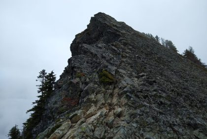 The summit block on the McClellan Butte hike. It is an angled gray rock sticking into the fog, surrounded with a few evergreen trees