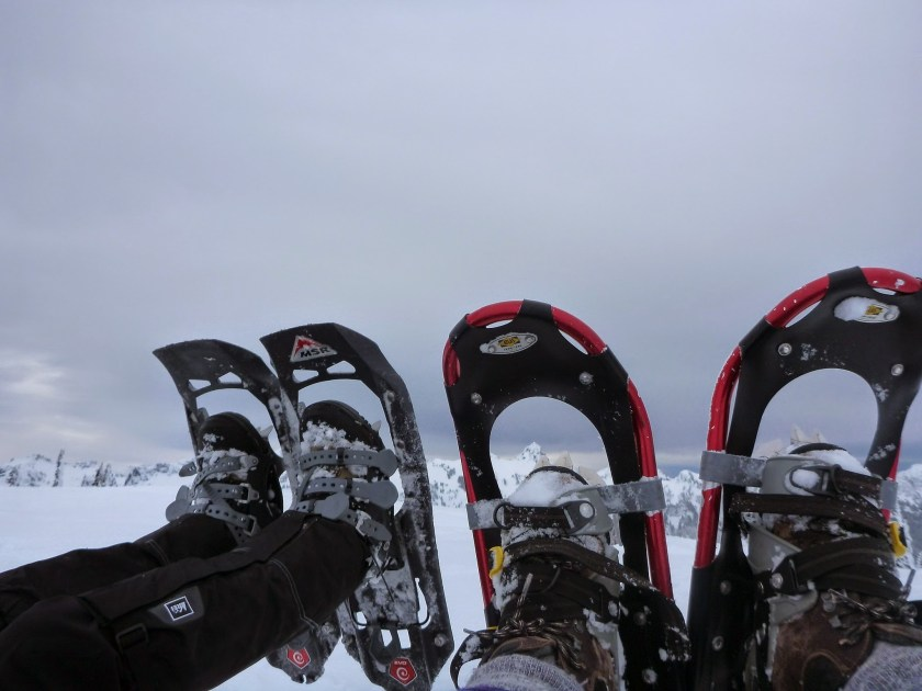 Two pairs of snowshoes being held up on two people's feet. The left pair is black plastic with gray straps, the right pair is red metal with black webbing and straps