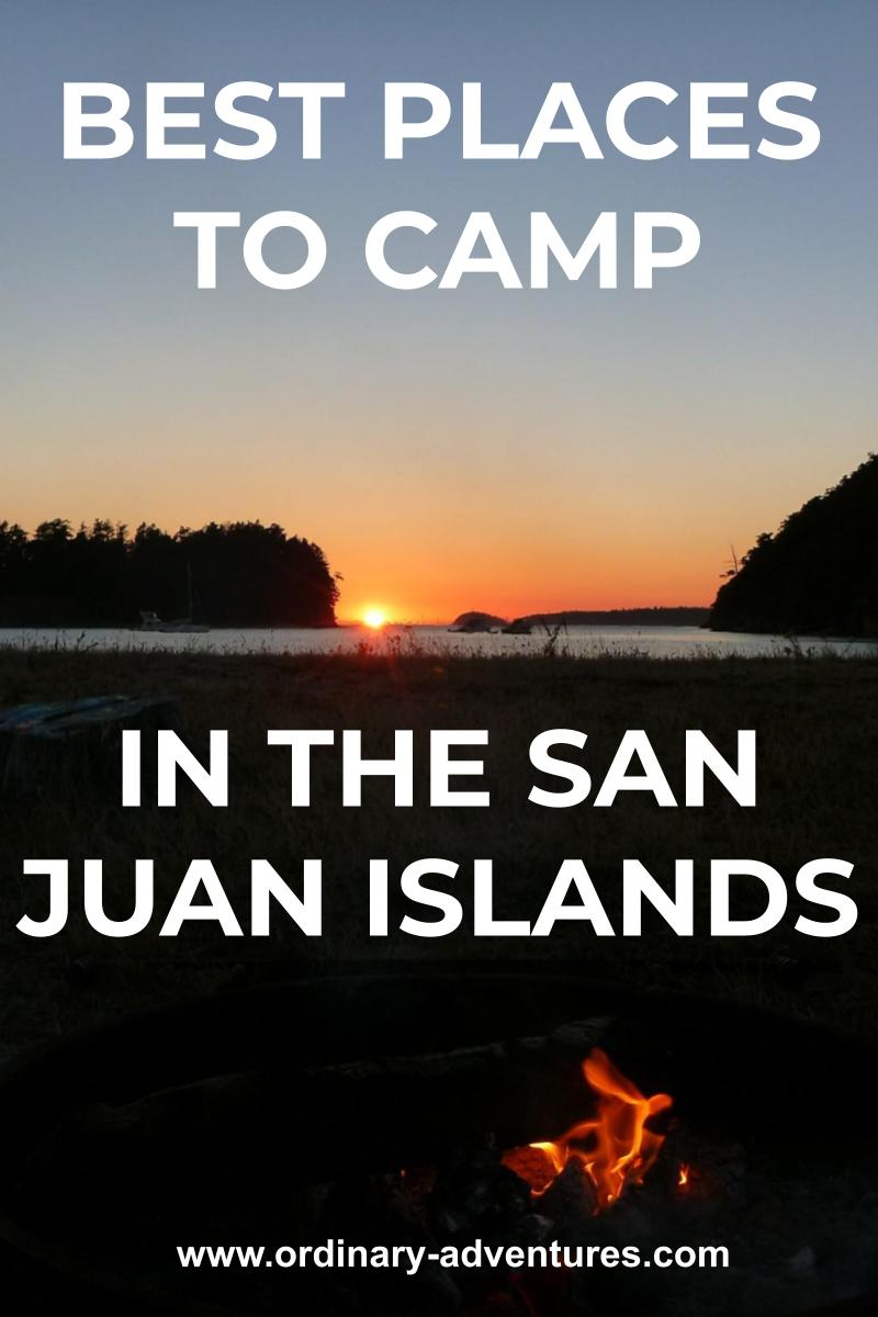Sunset behind distant islands from a beach. There is a campfire in the foreground. Text reads: best places to camp in the san juan islands