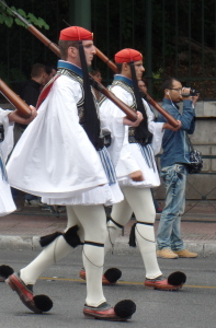 Greek soldiers marching.