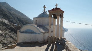 Church in Olympos, where the women wear traditional dress and really want to sell you Karpathian-made  products.