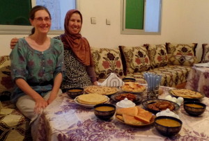 l-ftor with our friends Malika and Khadija. This is me and Malika just before we started eating.
