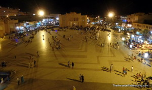 Ouarzazate Central Plaza by night