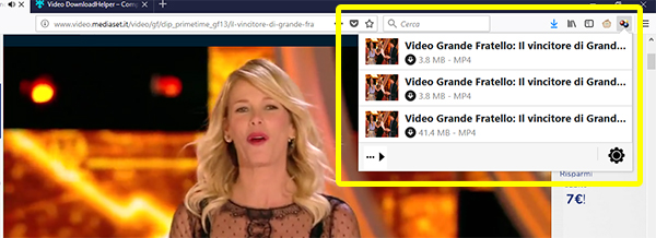 Lista video da scaricare su Video Mediaset