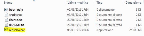 Apertura file eseguibile RedSn0w 0.9.10b6