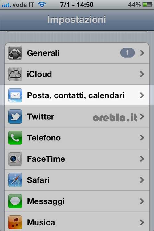 Cancellazione email da iPhone o iPad primo step