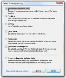 IE8: Funzione Delete Browsing History