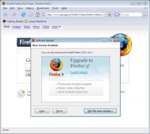 Messaggio di avviso aggiorna a Firefox 3