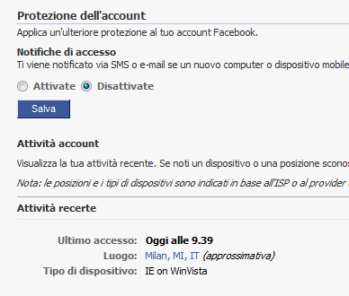 Facebook Controllo Log Out