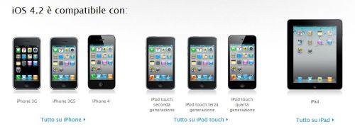 Compatibilità iOS 4.2 Apple