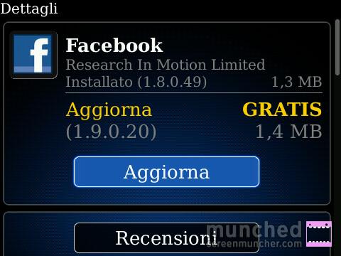 Facebook App Aggiornamento