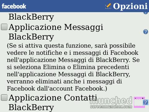 Inserire Messaggi Facebook nella cartella Messaggi BlackBerry